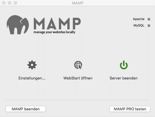 MAMP Kontrollfeld