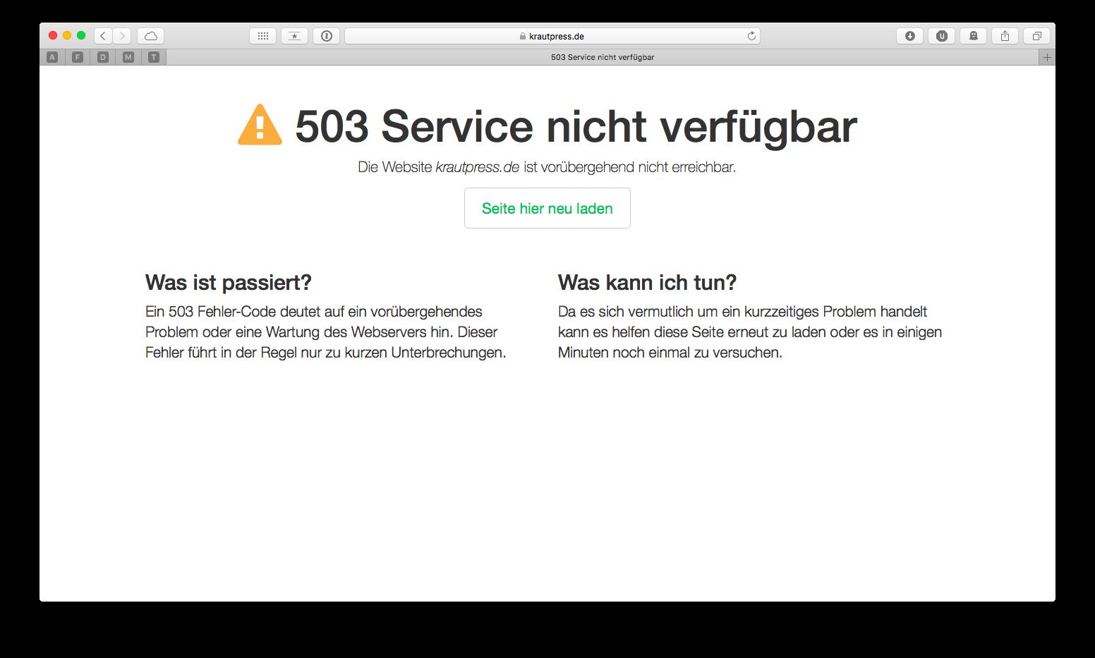 Browserfenster mit ausführlicher Fehlermeldung.