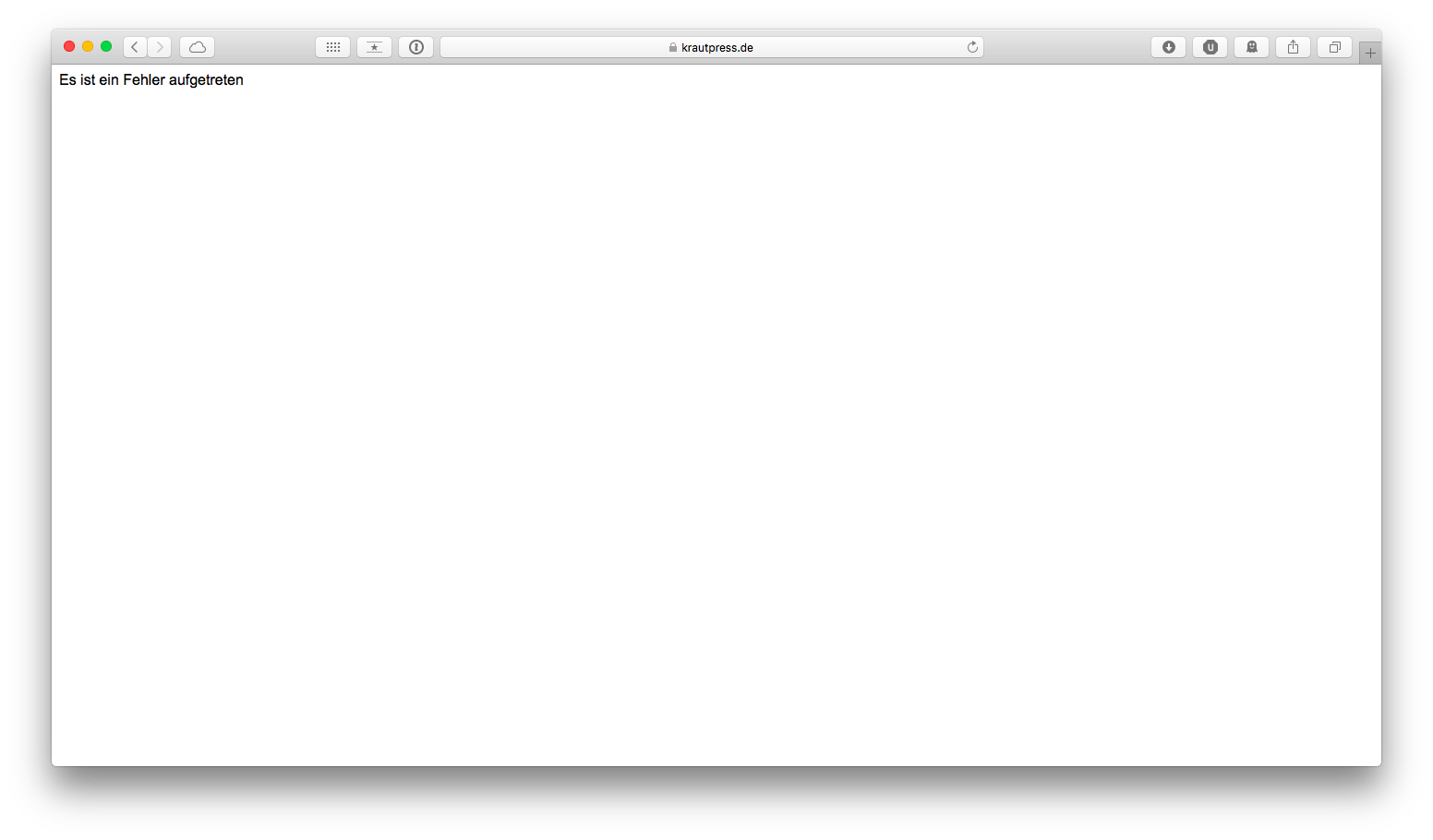 Browserfenster mit deutscher Fehlermeldung