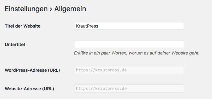 WordPress-Backend Einstellungsseite mit inaktiven URL-Optionen