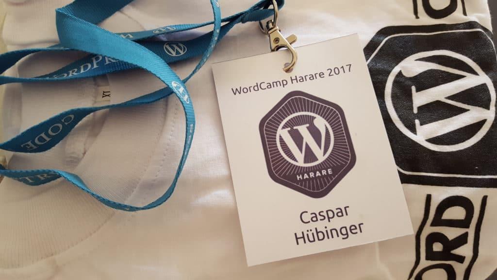 WordCamp Harare Badge mit sechseckigem Logo