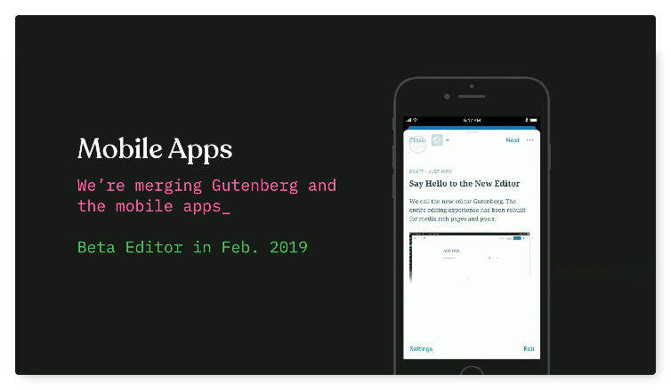 Screenshot der WordPress-App mit einer mobilen Gutenberg-Integration.