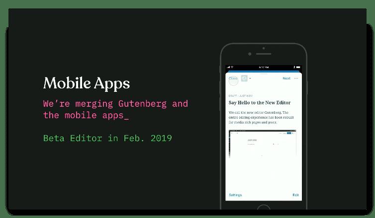 Screenshot der WordPress-App mit einer mobilen Gutenberg-Integration.