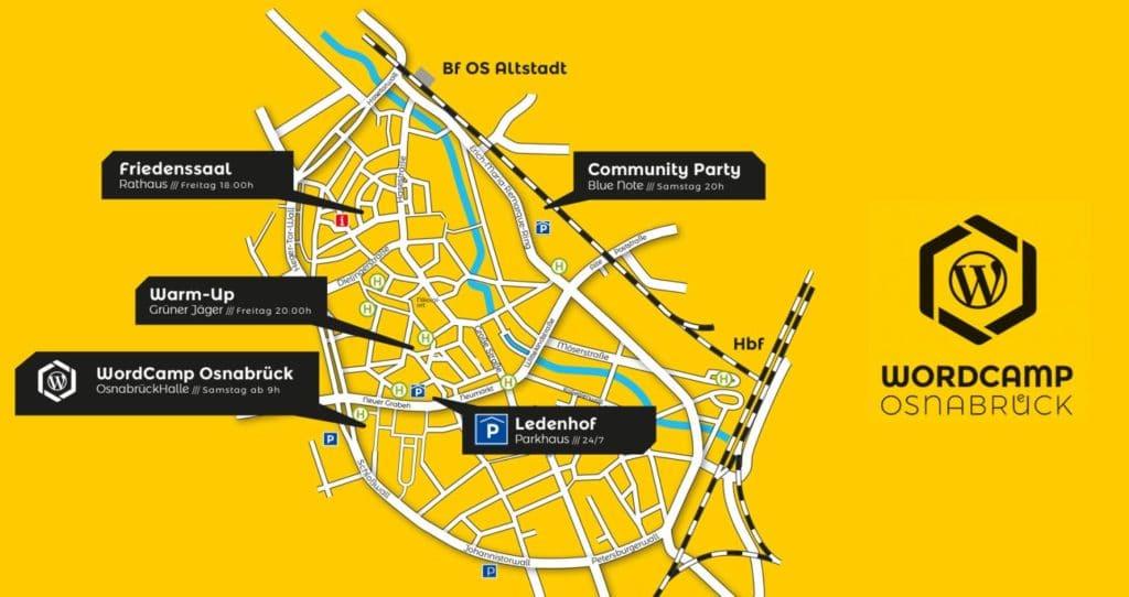 Stadtplan von Osnabrück mit den Locations für Warm-Up, Community-Party und WordCamp in der Osnabrücker Innenstadt.